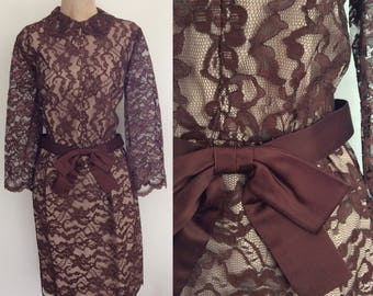 1960's Brown Lace Wiggle Dress w/ Waist Bow Size Large XL by Maeberry Vintage
