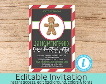 Christmas Gingerbread House Decorating Party Invitation, Editable Christmas Party template, gingerbread, Christmas Invite, Instant Download