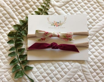 Raspberry Floral Baby Headband Duo