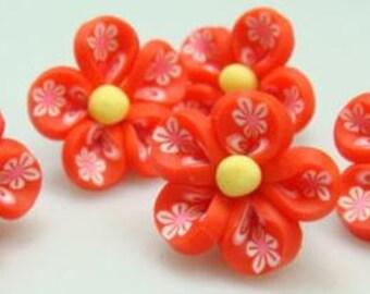 5 Piece Handmade Red Clay Flower Bead Cabochons - Kawaii Decoden Flatback (TDK-C1416)