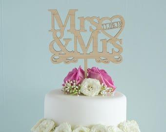 Personalized gay wedding cake topper. Custom made cake decoration Mrs & Mrs add wedding date Gay lesbian wedding Civil Partnership LGBT L111
