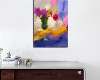 Colorful modern painting, Still Life oil painting with flowers, Contemporary wall art, Original artwork Floral painting in pink red