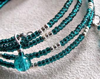 handmade green teal seed bead memory wire bracelet, wrap around bracelet, stacked bracelet