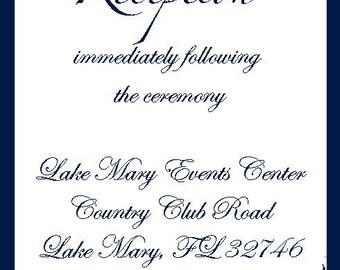 Wedding Reception Card 3.5 x 5 Blue Swirls