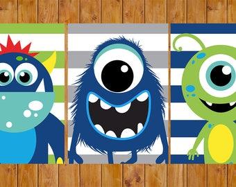 Monster Wall Art Decor Navy Blue Lime Green Grey Stripes Toddler Child's Boys Bedroom Set of 3 5x7 Digital JPG Files (251)