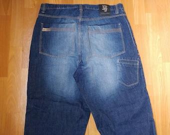 Phat Farm jeans, blue baggy jeans vintage, 90s hip-hop clothing, 1990s hip hop shirt, old school, OG, gangsta rap, size W 36