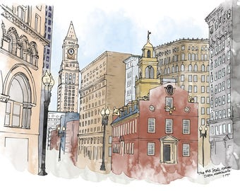 The Old State House - Boston, MA - Ink and Watercolor Drawing