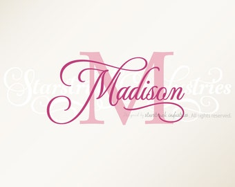 Personalized Custom First Name Wall Decal Sticker Nursery Decor Baby Shower Gift Idea New Baby Cursive Name for Wall Window Wood Sign etc.