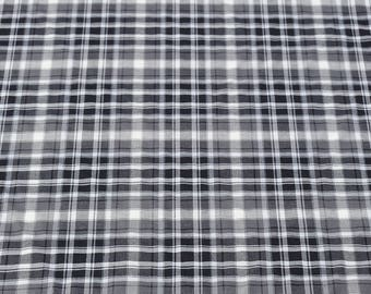 black and white woven Plaid cotton fabric