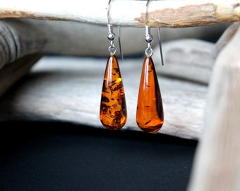 Dangle amber earrings, amber jewelry sterling silver clasp, natural Baltic amber, cognac amber earrings, amber jewellery, drop shape amber