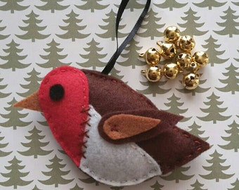 Felt Robin Christmas Tree Decoration, Robin Christmas Ornament, Hanging Christmas Robin, Robin Red Breast, Fabric Bauble, Felt Ornament
