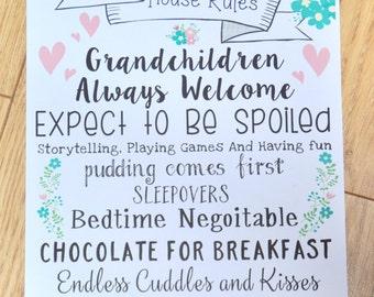 Grandparent Gift, Grandparents, Grandparent Rules, House Rules, Grandparents Sign, Family Rules Sign, Gift for Grandparents, House Rule Sign
