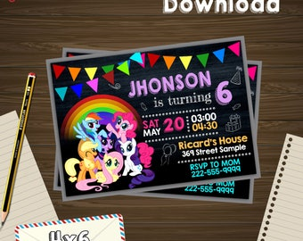 My little pony invitation, little pony birthday, little pony PDF, little pony editable, little pony card, little pony instant download