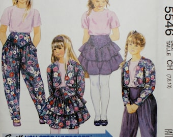 McCalls 5546 Vintage Girls Lined Jacket, Top, Skirt and Pants Sewing Pattern New/Uncut Size 7,8,10