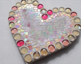 Pink Mosaic Stained Glass Heart