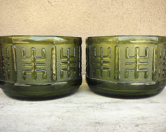 Two Pressed Green Glass Planters Chinoiserie Decor, Patio Decor, Depression Glass Bowls