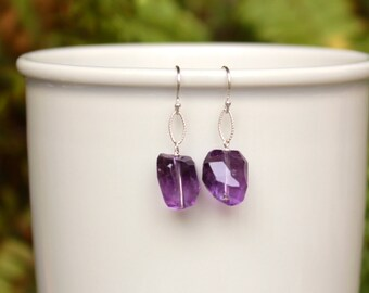SALE! Amethyst Earrings, February Birthstone, Deep Purple Gemstone Earrings, Sterling Silver, Lightweight, Simple, Minimalist Earrings
