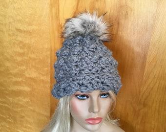 Chunky crochet Jumbo Grey Ivory Faux Fur Pom Pom Hat Thick Slouch Silver Grey sg22