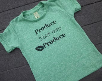 Kids eco friendly Produce Your Own Produce tee garden shirt NWT hand screen printed