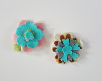 Handmade flower magnets,pastel flower magnets, gifts for her, easter gifts for mom, office magnets, office decor, refrigerator magnets,
