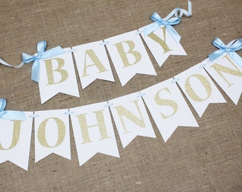 Light Blue and Gold Baby Banner - Personalization Included