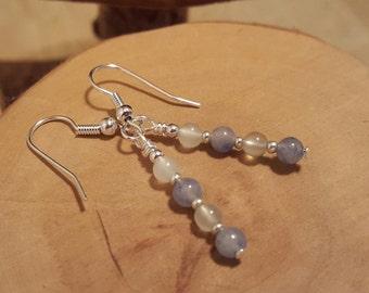 Blue Aventurine and sea green jade petite two tone gemstone earrings absolutely affordable luxury!