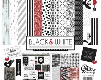 Glitz Design Black& White 12x12 Paper Collection Pack