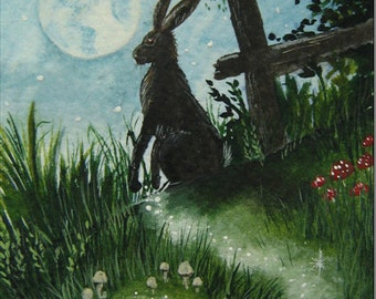 "ACEO Print Hare ""Trail of Magic"""