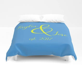 Personalized Bedding King, Duvet Cover Queen, Custom Gifts For Couples, Anniversary Gift For Wife, Master Bedroom Decor, Mr and Mrs Decor