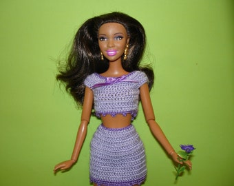 Barbie clothes Barbie birthday outfit Barbie doll  accessories  Barbie dress Barbie doll  top skirt Crochet knit dress Barbie handmade
