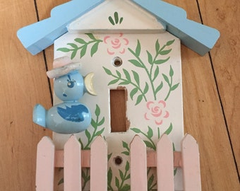 Vintage 1970s Irmi Pastel Bird Fence Switchplate Cover!