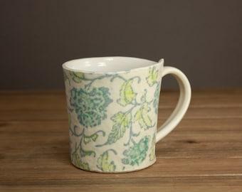 Floral Quilt Mug| Textile Inspired Mug| Dreamy Pottery| Nighttime Tea Mug| Graduation Gift