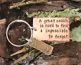 Coach Personalized Key Chain - Team - Hand Stamped Key Chain  - School - Teacher - Sports
