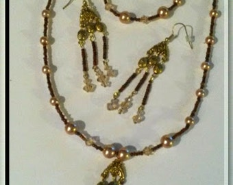 Brown Sparks Pearl and Crystal set