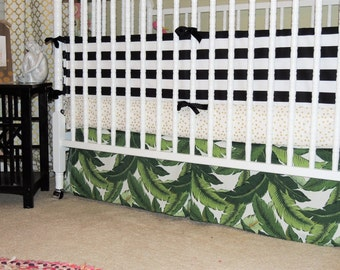 Custom Crib Bedding in Black, White, Gold, and Green with Tropical Leaf Print, Banana Leaf Crib Skirt, Palm Leaf Crib Bedding, Tropical Crib