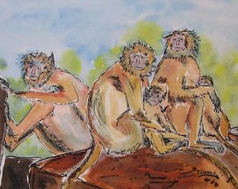 Monkey art, monkey family, zoo art, nursery decor, zoo animals, red monkeys, monkey illustration, safari art!  OOAK, mat 8x10 not a print!