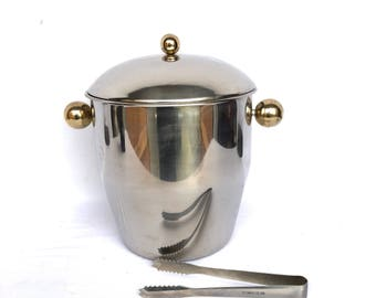 MOD Vintage Stainless ICE BUCKET w/ Tongs