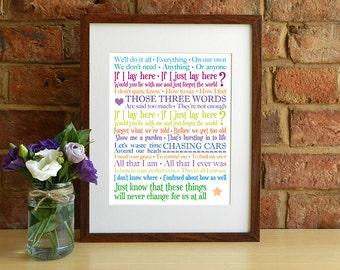 Snow Patrol - Chasing Cars - 8x10 inch Lyrics Print - Wedding Gift