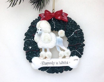 CLEARANCE: White standard poodle personalized Christmas ornament / Poodle Ornament / Dog Ornament