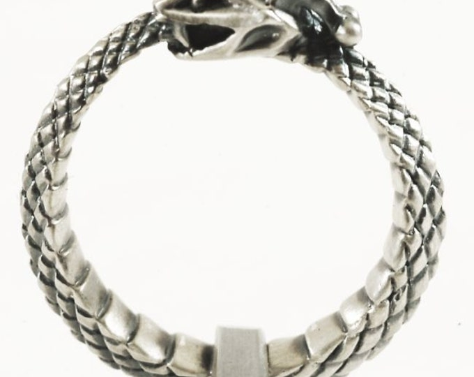 Sterling Snake Ring, Ouroboros Ring, Sterling Silver Snake Ring, Ouroborous, Uroboros, Oroboros Snake Jewelry Size 7, 7.25, 8, 9.25  (V288)
