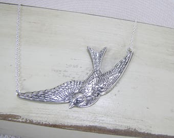 Flying Bird Necklace/Soaring Large Bird Jewelry