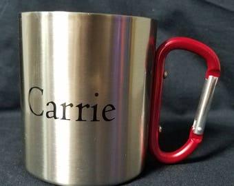 The Ultimate Camp \ Travel Mug 11OZ Stainless Steel Mug with Red Carabiner Handle