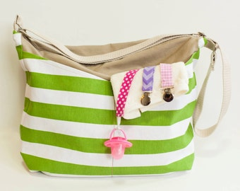 White & Green Stripped Cross-body bag w. pockets, zipper closure // Diaper Bag // Travel Bag // Beach Bag // Overnight Bag // Gift for women