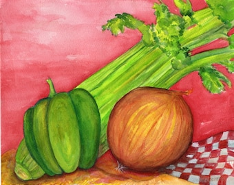 Celery, onion, pepper kitchen wall art decor, watercolors painting original, kitchen art, Holy Trinity of Cajun Cooking watercolor painting