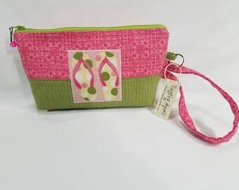 Summer Flip Flops clutch with zipper wristlet bag small zippered cosmetic pouch purse