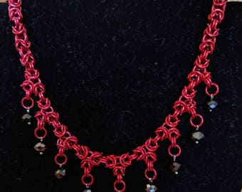 Chainmail Red and Black Beaded Necklace - Byzantine Weave, Byz, Dangling Hanging Beads, Chain Mail, Chainmaille, Chain Maille