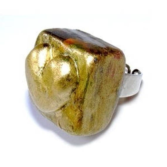 Cube gold polymer clay ring