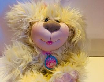 Cabbage Patch Kids fluffy dog stuffed animal plush toy blue signiture on paw