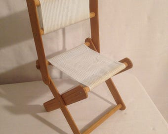 Old doll wood + fabric folding chair Vintage