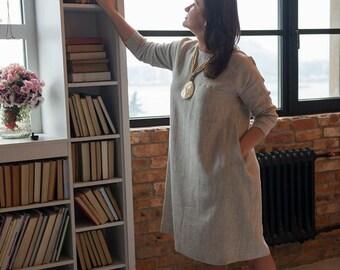 Linen dress, Long sleeves, Boho dress, Light brown linen dress, Linen Tunic dress, Linen boho dress, plus size, Oversized